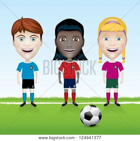 A group of diverse youth soccer players standing on the field sideline with a ball. Vector EPS 10 available. EPS contains gradient mesh.