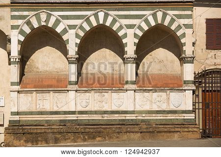 Florence Italy-June 2 2015. Exterior detail of the Basilica of Santa Maria Novella situated just across from the main railway station which shares its name.