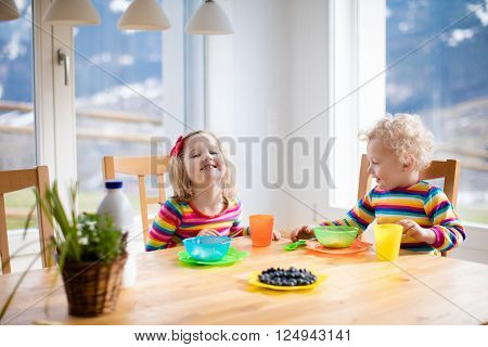 Children enjoying breakfast in sunny kitchen with big windows. Kids eating fruit cereal and berry and drinking milk or juice before kindergarten or preschool. Healthy nutrition for toddler and baby.
