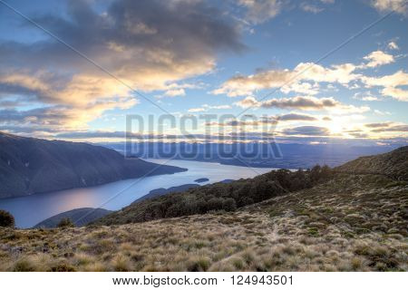 Sunset over Lake Te Anau on the Kepler Track on the South island in New Zealand