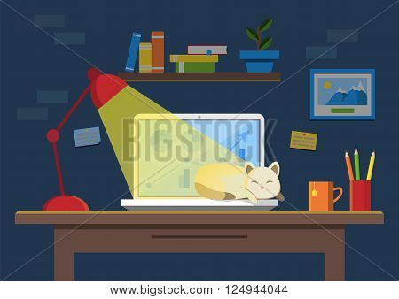 Flat design vector illustration of modern office interior. Creative office workspace with computer sleeping cat notes folders books plants mug. Flat minimalistic style and color