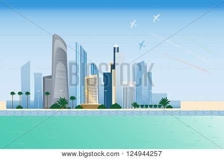 Abu-dhabi cityscape with skyscrapers and planes performing aerobatics vector illustration