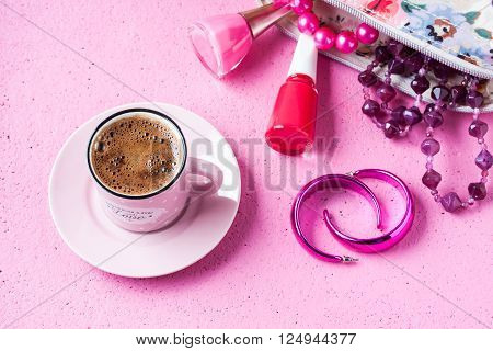 Turkish coffee drink with pink feminine concept