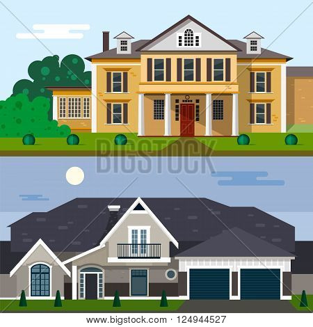 Luxury house exterior vector illustration in flat style design. Home facade and yard.
