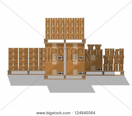 Set of closed brown carton delivery boxes in various sizes with fragile signs and barcode on wooden pallet with shadow. vector illustration in flat design isolated on white background
