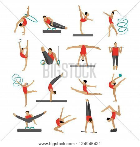 Vector set of people in sport gymnastic positions. Sportsman flat icons isolated on white background. Artistic and rhythmic gymnast exercise.