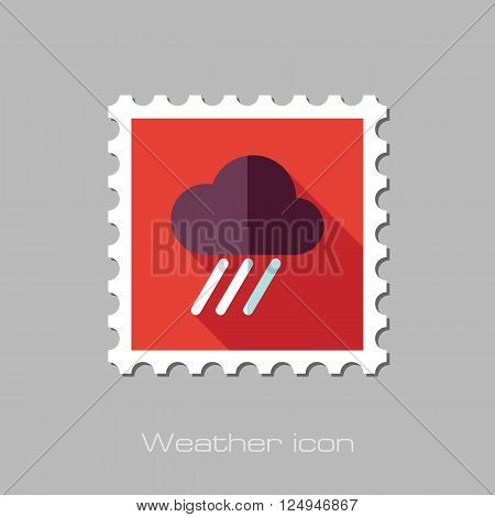 RRain Cloud flat stamp. Downpour rainfall. Weather. Vector illustration eps 10