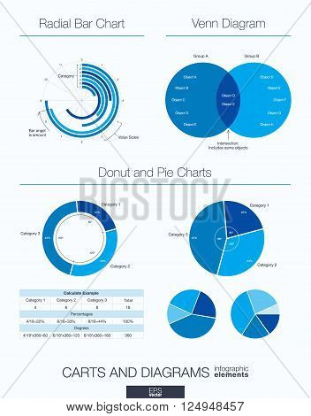 Useful infographic template. Set of graphic design elements, venn diagram, radial bar, donut and pie charts. Vector illustration.