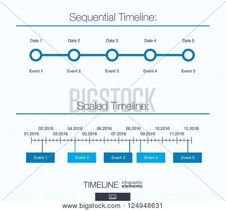 Useful infographic template. Set of graphic design elements, sequential and scaled timeline. Vector illustration.