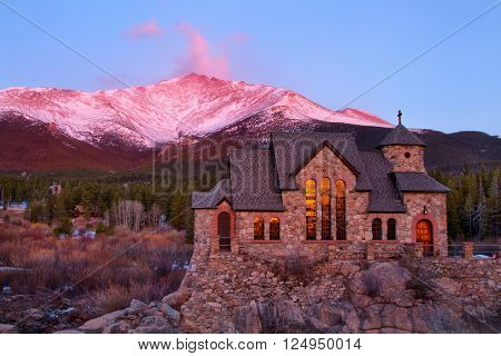 Sunrise on the St Malo Chapel in Colorado