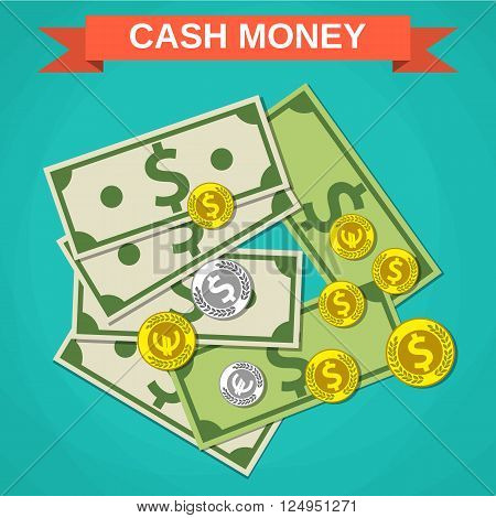 Cartoon money cash, green dollars and silver and gold coins with sign on red, money concpet, income, financial, vector illustration in flat design on green background
