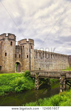 Entrance Gate Tower to Cardiff Castle in Cardiff in Wales of the United Kingdom. Cardiff is the capital of Wales.