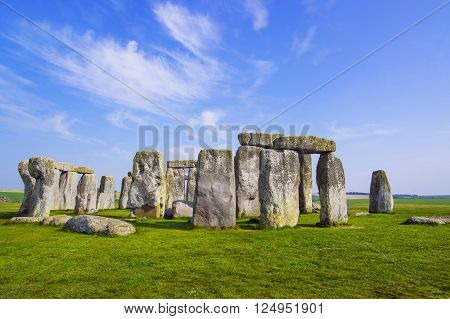 Stonehenge in Wiltshire of England in cloudy weather. It is a prehistoric monument 8 miles north from Salisbury in the place called Wiltshire in South West England. It is under protection of UNESCO.