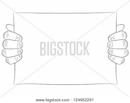 Two man hand and paper page. Hand hold poster or placard. Line drawing black.