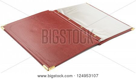 Open brown leather folder isolated on white background