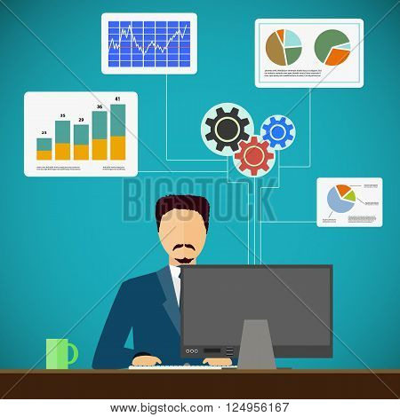 Man sits on the workplace at the computer. Financial and statistical graphs and charts. Flat graphic. Stock vector illustration.