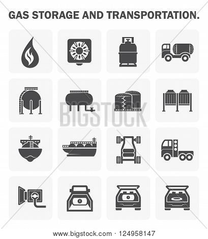 Gas storage and transportation icon sets on white.