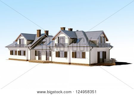 3d beautiful residential house render