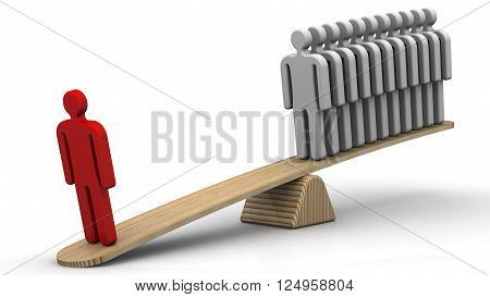 Comparison of the effectiveness of employees. One staff member replaces the several. One red human symbol weighed on the scales with a group of gray human symbols. The concept of comparing the efficiency of employees. Isolated. 3D Illustration
