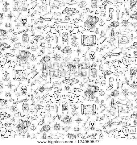 Seamless background hand drawn doodle Pirate icons set Vector illustration pirate symbols collection Cartoon piracy concept elements Pirate hat Treasure chest Skull Crossbones Compass Pirate costume