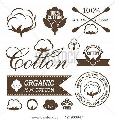 Cotton design set. Cotton labels stickers icons and emblems.