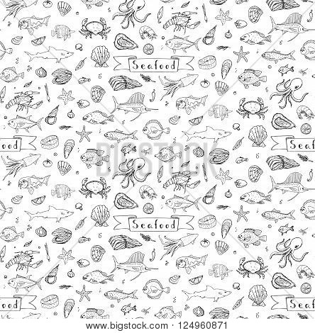 Seamless background hand drawn doodle Seafood icons set Vector illustration seafood symbols collection Cartoon fish Crab Lobster Oyster Shrimp Shellfish Shrimp White background for your menu or design