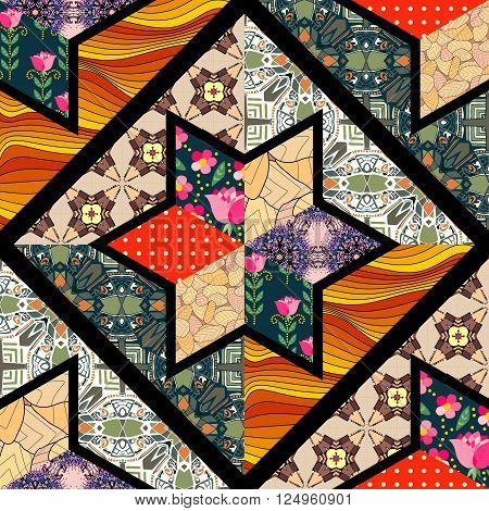 Seamless patchwork pattern with black seams. Beautiful quilt design.