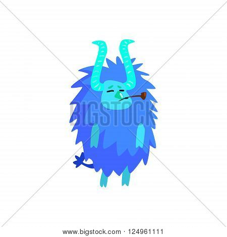Blue Furry Childish Monster Flat Cartoon Style Isolated Vector Design Print On White Background