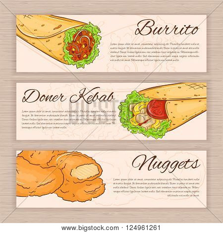 vector set of hand drawn fast food banners with donner kebab nuggets and burrito.