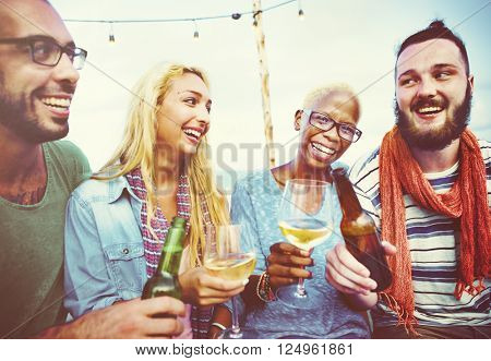 Diverse Summer Beach Party Roof Top Fun Concept