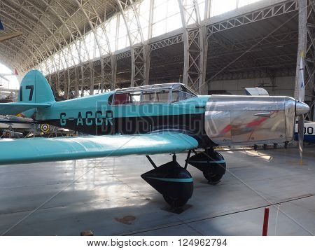 BRUSSELS, BELGIUM-OCTOBER 9: An antique vintage military prop airplane on display Royal Museum of the Armed Forces and of Military History in Cinquantenaire Park in Brussels, Belgium on October 9, 2015,