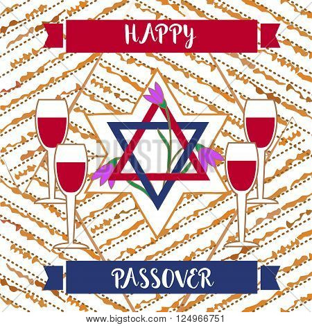 Happy Passover poster, card. Matzah bread, wine for Passover, Pesach celebration. Idea for card with kosher matzoh, decoration, invitation for family pesach seder dinner. Vector illustration.