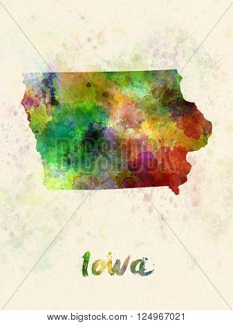 Iowa US state poster in watercolor background