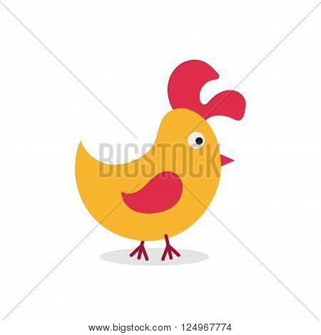 Little cock. Chick. Cartoon flat design. Chick character