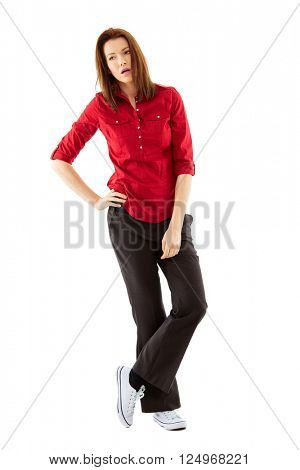 Bored young woman shoot over white background, full body shoot