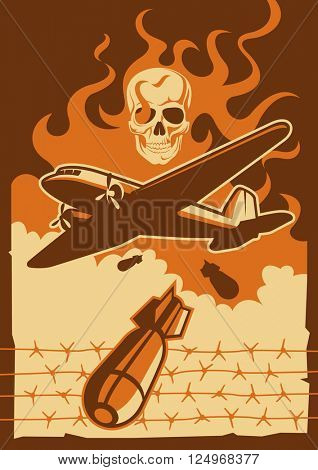 Military aircraft dropping the bomb. Vector illustration.