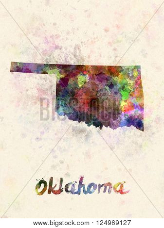 Oklahoma US state poster in watercolor background