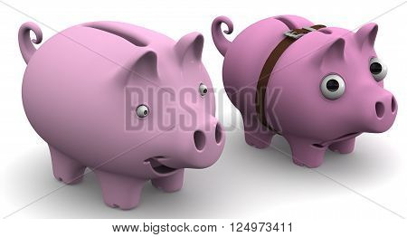 Full and empty (wrapped around with strap and with bulging eyes) pig piggy bank on a white surface. 3D Illustration. Isolated