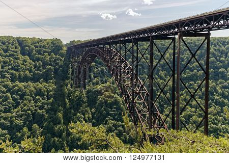 The 3030 ft long New River Gorge Bridge in Fayetteville West Virginia