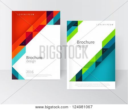 Cover design. Brochure, flyer, annual report cover template. a4 size. modern Geometric Abstract background. blue, yellow, green and red diagonal lines. vector-stock illustration EPS 10