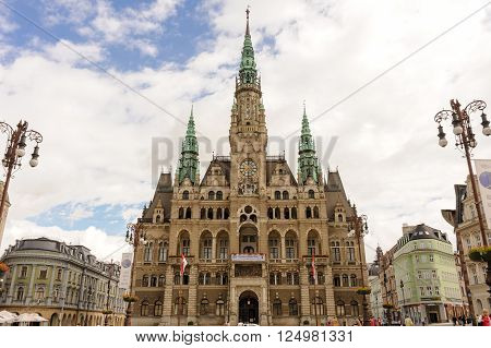LIBEREC CZECH REPUBLIC - JULY 8 2009: Neo-renaissance style Town Hall at Dr. E. Benese square in the old town