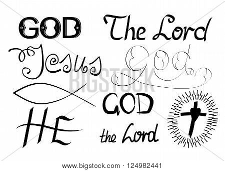Biblical symbols and biblical lettering with the words God, Lord, He