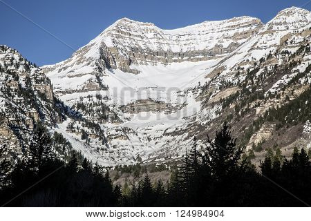 Beautiful spring snowy mountain top in the Rocky Mountains along the Wasatch back in Utah