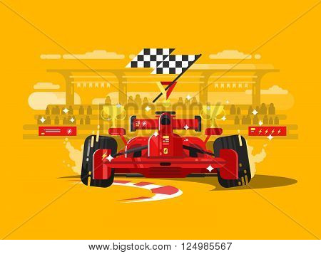 Sport car formula one. Speed race competition, auto motor vehicle, champion transportation, vector illustration