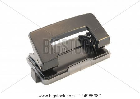 Black office hole punch on a white background