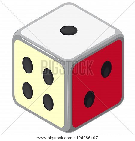 Playing isometric dice. Color full cube on white background. Six sides game die. One, two and four dots side. Yellow, red side. Risk situation. Casino icon. Flatten isolated master vector illustration