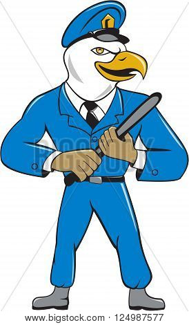 Illustration of an american bald eagle policeman holding baton looking to the side set on isolated white background done in cartoon style.
