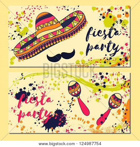 Beautiful greeting card, invitation for fiesta festival. Design concept for Mexican Cinco de Mayo holiday with maracas, sombrero, mustache and colorful splashes in watercolor style.Vector illustration
