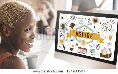 Aspire Aspiration Ambition Desire Goal Hope Concept poster