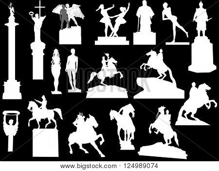 illustration with sculptures isolated on black background
